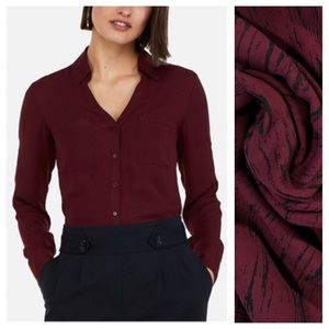 EXPRESS Portofino Button Up Wine & Black Red XS